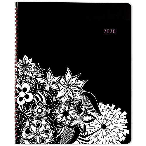 2020 Planner, Cambridge Weekly & Monthly Planner, 8-1/2 x 11, Large, FloraDoodle, Black and White (589-905), Model:589-905-20