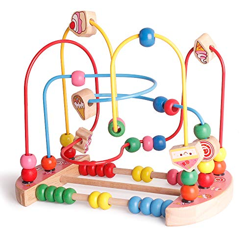 UMTOY Wooden Educational Kids Desserts Bead Maze Abacus Circle Toys Roller Coaster Game for Children Boys & Girls Toddlers Brainpower Intelligence Developing Toy Game Set for 1 Year Old