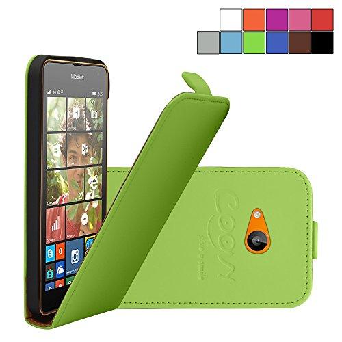 COOVY Custodia per Nokia Lumia 630/635 Slim Flip Cover Case della Copertura di Vibrazione Protezione, Pellicola Protettiva per Schermo | Colore Verde
