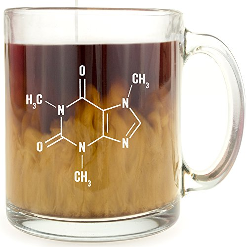Caffeine Molecule - Glass Coffee Mug - Makes a Great Gift Under $15 for Science Buffs!