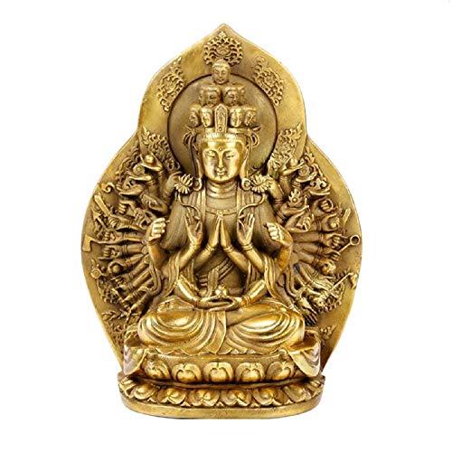 Fengshui KwanYin Statue,The Thousand-Hand Bodhisattva Guan Yin Figurine Brass Buddha Statues Sculptures Home Decor (Brass)