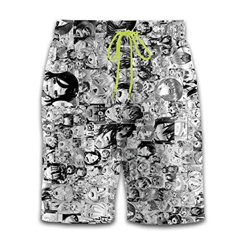 Shichangwei Funny Mens 3D Estilo Japonés Ah-eg-ao Gráfico Shorts Swim Trunks Beachwear Anime Cartoon Pants