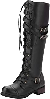 Freeby Women's Vintage Style Knee High Combat Boots Buckle Lace-Up Waterproof Round Head Square Heel Long Boots Shoes