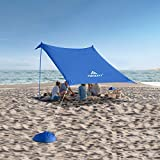 Forceatt Beach Tent Sun shelter, Pop up Beach Tent with UPF50 UV Protection and 2 Aluminum Poles,Outdoor shelter for Beach time, Backyard,Fishing, Camping or Family Picnics(10FTx10FT)