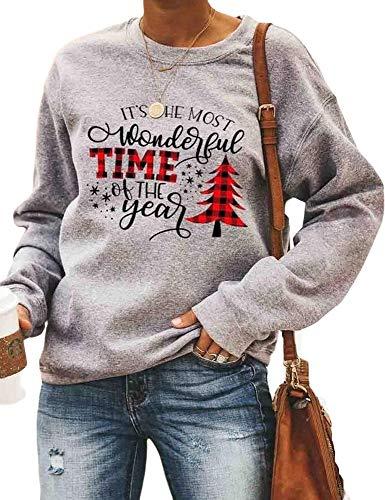 Felpa a Maniche lunghe da Donna di Natale Autunno Albero di Natale Freizeitpullover Top Felpe stampate da Donna (T-Christmas Pattern, Tree S)
