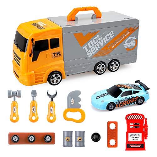 BeebeeRun Truck Tool Toy 36 teiliges Kinderwerkzeug Spielzeugspielzeugset mit zerlegbarem Auto für Kleinkinder Jungen, pädagogisches Truck Toy Kit Set Rollenspielgeschenk für Jungen Mädchen Kinder