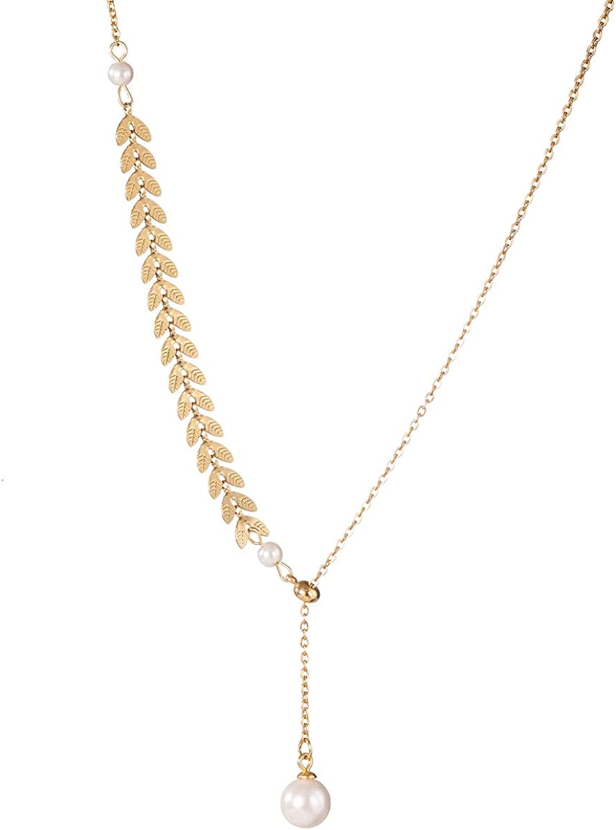 AMYJANE Leaf Pearl Circle Choker Necklace CZ Station Y Necklace 18k Gold/Rose Gold Plated Stainless Steel Lariat Style Necklace Pendant Chain Y Necklace for Women Girls Costume Jewelry