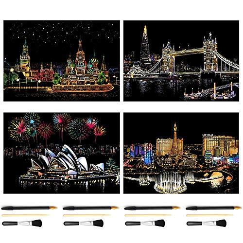 4 DIY Landschaft Kratzer Malerei Set, Kratzer Kunst Kit für Erwachsene und Kinder, New Trend, 40,5 * 28,5 cm (Tower Bridge + Las Vegas + Sydney Opera House + Russischer Roter Platz)