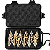 MEJOSER 12 x Pfeilspitzen Jagdspitzen Armbrust Bogen Alu mit 3 Klingen aus 430 Edelstahl mit Aufbewahrung ((schwarz) (gelb)