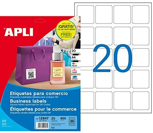 APLI 12847 - Etiquetas blancas permanentes 45,0 x 45,0 mm 20 hojas
