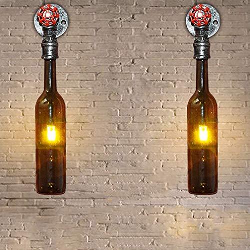 2 Pièce LED Lampe De Chevet Applique Murale Intérieur Rétro Vintage Chambre D'enfants En Verre Bouteille Appliques Murales Chambre Éclairage Mural Cuisine Décoration Lampe Couloir G4 Lampe 12 * 32cm