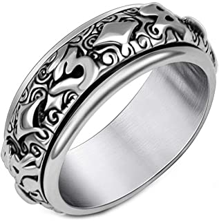 Unisex Stainless Steel 6 Word Mantra Religious Spinner Ring Wedding Band Silver