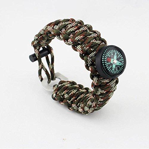 Boussole/Outdoor Survival Fire Stick/Parachute Corde Bracelet/Flint couteau Shi Rui Eye Bracelet, 6