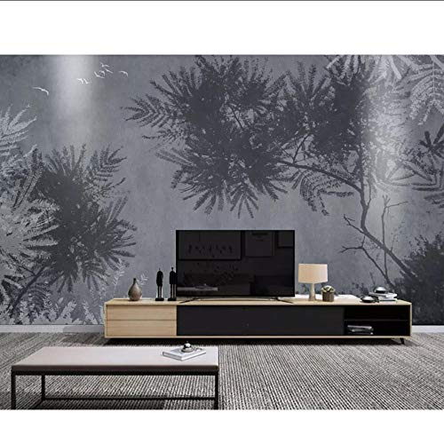 Zwarte en Witte Grijze Plant Moderne 3D Behang Muur, Woonkamer Slaapbank TV Muur Slaapkamer Muurpapieren Home Decor MRQXDP Papel de Parede 250x360cm