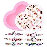 ZITFRI 36 Pcs Bagues 6 Pcs Bracelet Amitié Fille avec Boîte de Coeur Rose BagueBijoux Petits Cadeaux Anniversaire