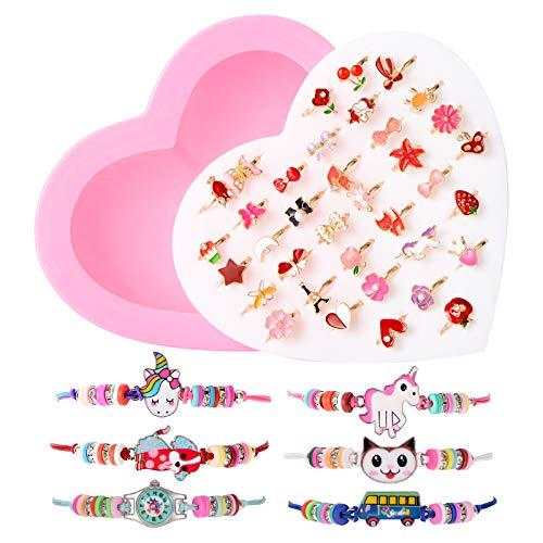 ZITFRI 36 Pcs Bagues pour Enfant 6 Pcs Bracelet Amitié Fille avec Boîte de Coeur Rose BagueBijoux Petits Cadeaux Anniversaire Enfant Jouet Fille Bijoux Bracelet