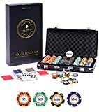 Deluxe Poker Chip Set 300 - Deluxe Poker Set 300 Chips With Monte Carlo Poker Chips (14g Clay Poker Chips With Denominations, Casino Chips), Black Case, 100% Plastic Cards (Gold and Silver), Cut Cards