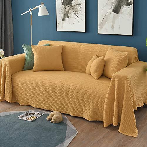 TIYKI Cuatro Temporadas Universal Funda De Sofa,Color Puro Todo-Incluido Cubierta Forros para Sofas,para Sala De Estar Perro Protector De Muebles De Mascotas-Amarillo. 180x340cm(71x134inch)