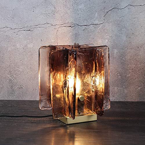 LG Snow Lámpara de mesa de cristal moderna, sencilla lámpara de mesita de noche, lámpara de mesa de metal para sala de estar (puerto de rosca E14)
