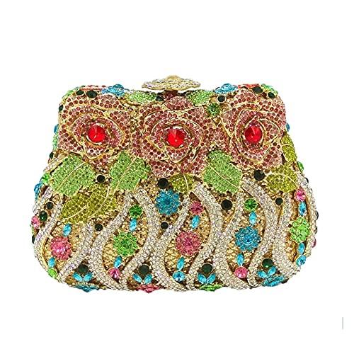 A+TTXH+L Bolso Noche Mujer Monedero de Cristal de Las Mujeres Bolsa de Embrague de Embrague Nupcial Diamante Embrague Boda Fiesta minaudiere (Color : A, Size : 1)