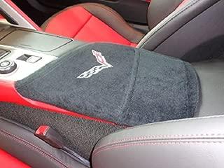 Officially Licensed Corvette Logo Embroidered Center Armrest Console Cover Designed for Chevy Corvette C7 Models 2014-2019 Black
