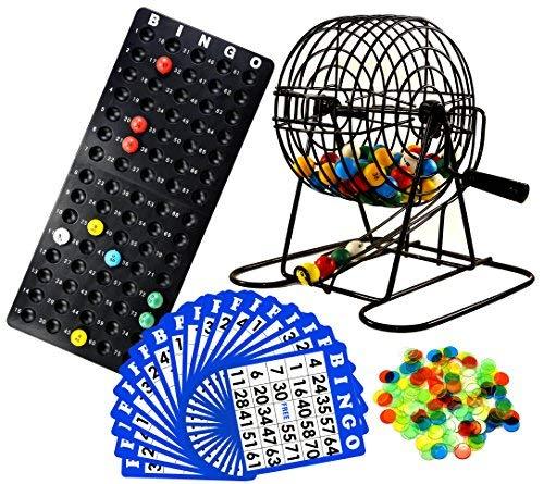 Regal Games Deluxe Bingo Cage Game Set  8 Inch Metal Cage with Plastic Masterboard 75 MultiColor Bingo Balls 18 Bingo Cards and Bingo Chips