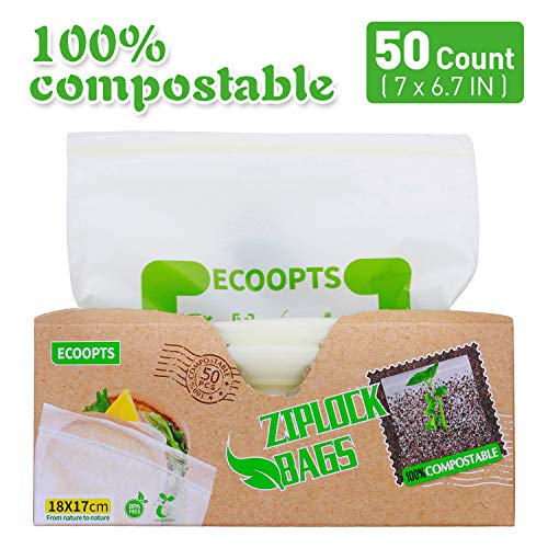 ECOOPTS Food Storage Ziploc Bags 100% Compostable Sandwich Bags Reusable Storage Freezer Bag for Home School or Work, 50 Count (76.7 IN)