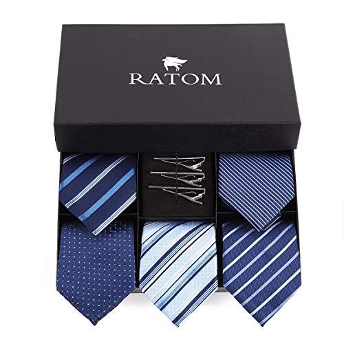 [RATOM] ネクタイピン ネクタイ セット【ネクタイ5本+ピン3本+ギフトボックス、洗濯OK】 (ブルー系)