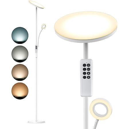 Anten Lampadaire LED Telecommande | Lampe Sur Pied Moderne 30W Avec Liseuse 5W | 2000 lm avec 4 Températures de couleur Dimmable, Pour Salon, Chambre, Bureau, Hôtel - Blanc