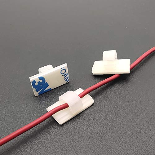 FeJu Kabelklemmen selbstklebend weiß | 50 Stück | Kabel Management Schreibtisch Organizer Kabelclips Kabelhalter für Büro, Auto und Zuhause