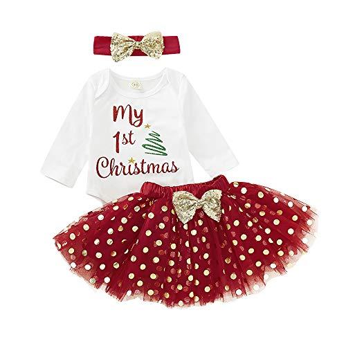 CHOSERL Conjunto de ropa casual para niñas, mameluco de impresión navideña+falda de tutú+diadema con lazo