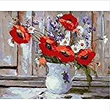 clockfc Paint by Numbers DIY Wall on Red Peony Paint by Numbers Set Art -40x50cm-Con Marco