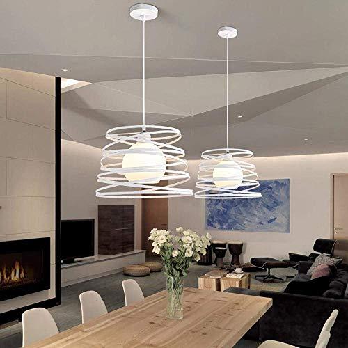 OOFAY LIGHT Modern Pendelleuchte E27 1 flammig Deisgn Küche Lampe Flur Arbeitszimmer Leuchte Esszimmerlampe Decke Beleuchtung Weiß Eisen Rahmen Durchmesser 34cm Abhängung 100cm H&oum