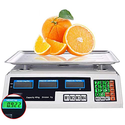 Preisrechenwaage (40 kg / 2 g) Edelstahl Waage mit LCD Display Akku Wasserwaage Tara Funktion Akkubetrieb Digital - Preiswaage Küchenwaage Digitalwaage,C