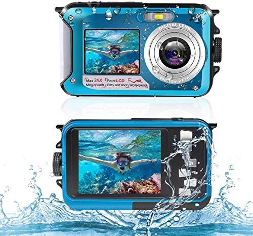 Cámara sumergible digital resistente al agua 2,7 K 24 MP HD recargable, zoom digital 16X con doble pantalla selfie