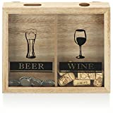 com-four® Caja colectora de Tapones de Corcho - Caja colectora de Tapones de Cerveza y Vino - colector de Tapones para Colgar