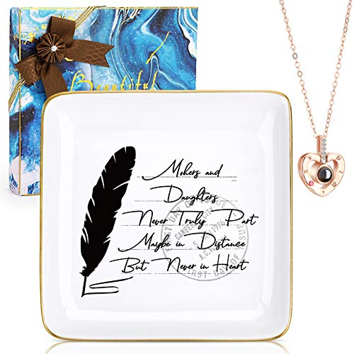 Gift for Mom from Daughters Mother's Day Christmas Birthday Gift for Mom Daughters Trinket Dish Ceramic Jewelry Trays Ring Dish and 100 Languages I Love You Necklace (Mother and daughter)