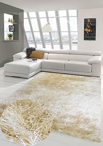 Wertvoller Shaggy Teppich Hochflor mit Glitzer in Gold Größe 120x170 cm