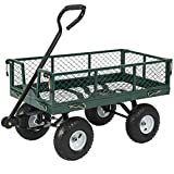 Best Choice Products Heavy-Duty Steel Garden Wagon Lawn Utility Cart w/ 400lb Capacity, Removable Sides, Long Handle