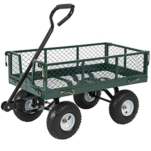 Best Choice Products 400lb Steel Garden Wagon Lawn Utility Cart Wheelbarrow w/Handle - Green