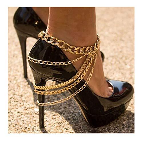 IYOU Fußkettchen Gold Punk Fußkettchen Armbänder Fashion Bar Nachtclub Party Fußkette Schmuck für Frauen und Mädchen