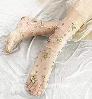 新しい夏のファッションマルチカラーグリッター薄いメッシュチュールソックス透明な超薄い網タイツスターSherr靴下靴下OMSJ