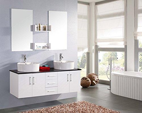 Muebles para baño Juego de muebles para cuarto de baño con espejo baño 150 cm mueble + 2 espejos + repisas + grifería