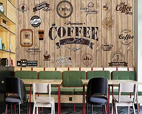 Custom Wallpaper Wood Shading Retro Coffee Shop Label Background Wall Restaurant Mural TV Background Wall