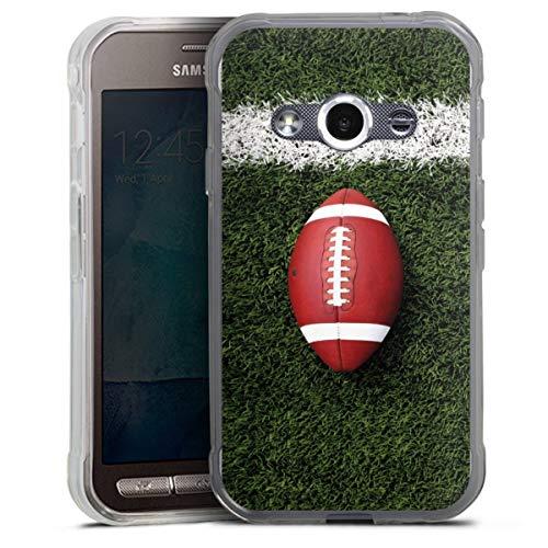 DeinDesign Silikon Hülle kompatibel mit Samsung Galaxy Xcover 3 Case transparent Handyhülle American Football Sport Ball