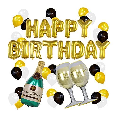 BANYANU Globo, Juego De Decoración De Fondo para Fiesta De Cumpleaños Botella De Champán Feliz Cumpleaños Dorado Bola De Película De Aluminio, Globos De Helio (49 Piezas)