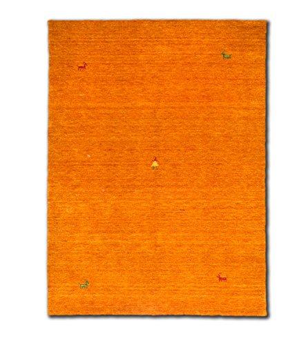 Morgenland Gabbeh SAHARA Teppich Orange Einfarbig Tier Handgewebt Schurwolle 300 x 80 cm Läufer