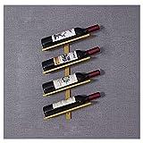 estantería de Vino, en diseño único - Estable, Duradero y Moderno - Elegante botellero para su colección de Vino doméstica Estante para vino de metal con capacidad para 4 botellas M+ / Golden