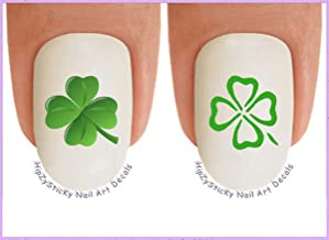 Nail Art Decals WaterSlide Nail Transfers Stickers Holiday St. Patricks Day - 4 Leaf Irish Clovers Set #3 Green - Salon Quality! DIY Nail Accessories