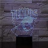 3D raquette de tennis style veilleuse illusion lampe 7 changement de couleur lumières décoratives enfants jouets cadeau de noël tactile avec télécommande